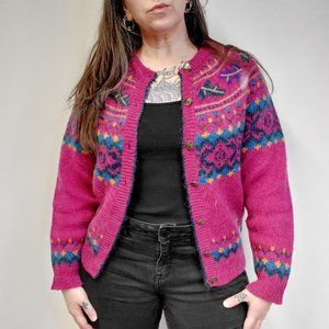Vtg 90s WOOLRICH Mulberry Fair Isle Mohair Sweater